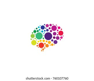 Dot Brain Icon Logo Design Element