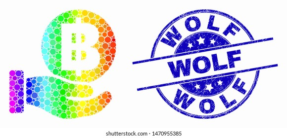 Dot bright spectral hand offer bitcoin mosaic icon and Wolf stamp. Blue vector rounded distress stamp with Wolf title. Vector collage in flat style.