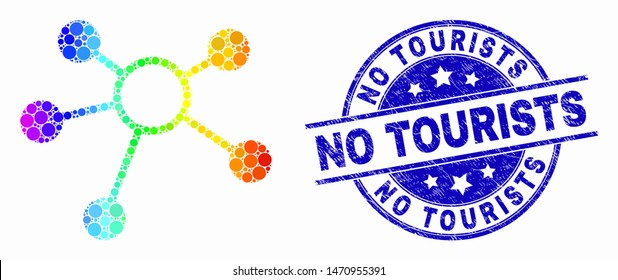 Dot bright spectral links mosaic pictogram and No Tourists stamp. Blue vector round textured stamp with No Tourists phrase. Vector combination in flat style.