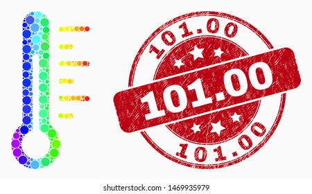 Dot bright spectral thermometer mosaic icon and 101.00 seal. Red vector rounded scratched seal stamp with 101.00 phrase. Vector composition in flat style.