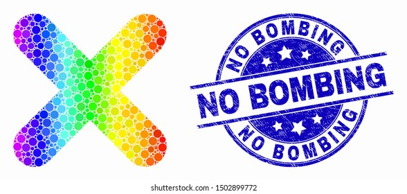 Dot bright spectral x-cross mosaic pictogram and No Bombing seal stamp. Blue vector rounded textured seal stamp with No Bombing title. Vector combination in flat style.