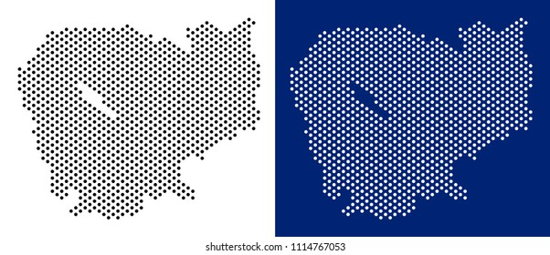 Dot Cambodia map. Vector geographic map on white and blue backgrounds. Vector composition of Cambodia map constructed of round elements.