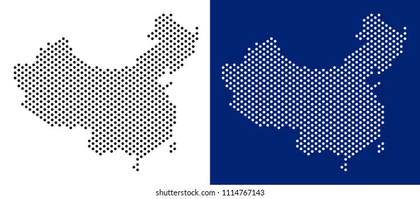 Dot China map. Vector geographic map on white and blue backgrounds. Vector composition of China map done from circle elements.