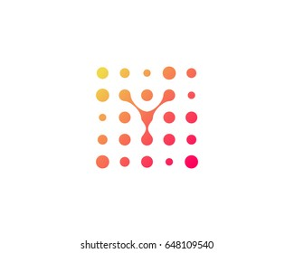 Dot Digital Letter Y Icon Logo Design Element