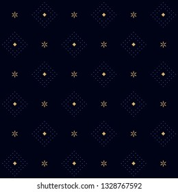 Dot dimond design simple geometric floral pattern. Shiny effect on a navy blue background. Small squares all over patchwork motif for fabric cloth, interior wallpaper, textile accessories, swimwear.