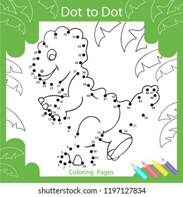 Dot to dots drawing worksheets. Coloring page for kids. Drawing tutorial with cute funny dinosaur. Children funny picture riddle. Drawing lesson. Activity art game for book. Vector illustration.