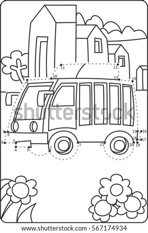 Dot Dot Drawing Bus Learning Drawing Stock Vector Royalty Free