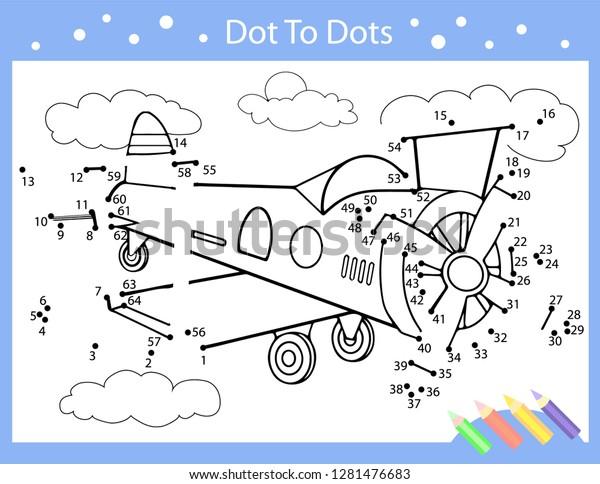 Dot Dot Drawing Worksheets Drawing Tutorial Stock Vector Royalty