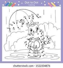 Dot to dot drawing worksheets. Drawing tutorial with cute a unicorn. Coloring page for kids. Children funny picture riddle. Drawing lesson. Activity art game for book. Vector illustration.