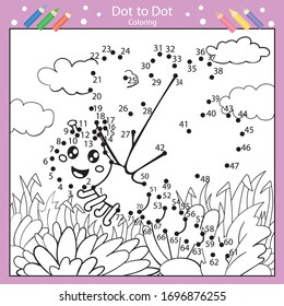 Dot to dot drawing worksheets. Drawing tutorial with a dragonfly. Coloring page for kids. Children art page with riddle. Drawing lesson. Activity art game for book. Vector illustration.