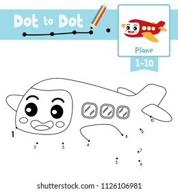 Dot to dot educational game and Coloring book of Plane cartoon character transportations for kids activity learning counting number 1-10  and handwriting practice worksheet. Vector Illustration,