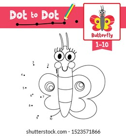 Dot to dot educational game and Coloring book of Butterfly animals cartoon character for preschool kids activity learning counting number 1-10 and handwriting practice worksheet. Vector Illustration.