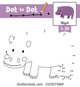 Dot to dot educational game and Coloring book of Hippo animals cartoon character for preschool kids activity about learning counting number 1-20 and handwriting practice worksheet.Vector IIllustration
