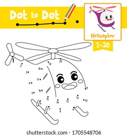 Dot to dot educational game and Coloring book of Helicopter cartoon transportations for kids activity about counting number 1-20 and handwriting practice worksheet. Vector Illustration.