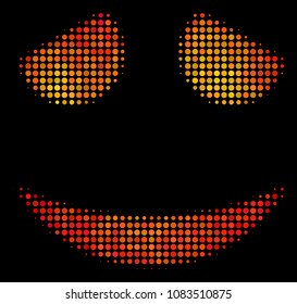 Dot embarassed smile icon. Bright pictogram in orange color tinges on a black background. Vector halftone pattern of embarassed smile symbol designed from circle items.
