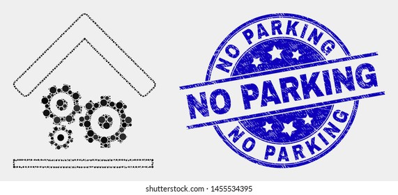 Dot engine service garage mosaic icon and No Parking seal stamp. Blue vector rounded scratched seal stamp with No Parking text. Vector collage in flat style.