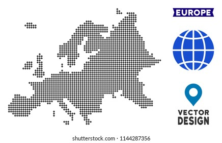Dot Europe map. Vector geographic map in dark gray color. Points have rhombus form.