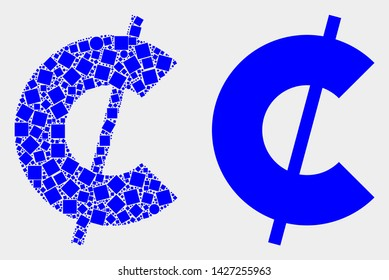 Dot and flat cent symbol icons. Vector mosaic of cent symbol formed of irregular square elements and spheric elements.