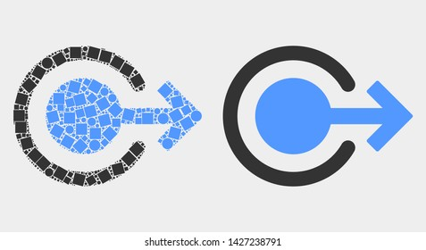 Dot and flat logout icons. Vector mosaic of logout created of irregular rectangle elements and circle elements.