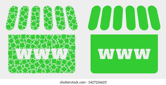 Dot and flat webshop icons. Vector mosaic of webshop composed of random small squares and circle pixels.
