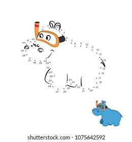 Dot to dot game. Educational number puzzle for kids. Animals of zoo. Hippo in cartoon style. Isolated cute character. Vector illustration