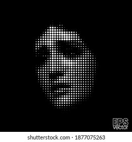 Dot halftone vector illustration of crying Saint Mary figure sculpture from 3d rendering on black background.