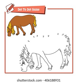 dot to dot horse game. Vector illustration of dot to dot puzzle with happy cartoon horse for children