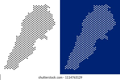 Dot Lebanon map. Vector geographic map on white and blue backgrounds. Vector mosaic of Lebanon map made from spheric dots.