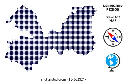 Dot Leningrad Oblast map. Abstract territorial plan. Points have rhombus form and dark blue color. Vector concept of Leningrad Oblast map constructed of rhombus element array.