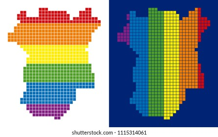Dot LGBT Chechnya map variants. Vector geographic maps in rainbow colors with vertical and horizontal directions on white and blue backgrounds.
