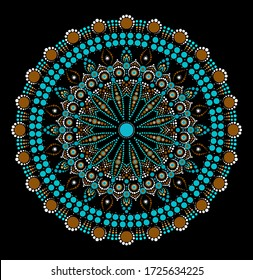 Dot mandala for acrylic painting. Spot painting point to point. Abstract design of mandala in dot paint style. Aboriginal australian ethnic round ornament.