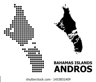 Dot map of Bahamas - Andros Island composition and solid illustration. Vector map of Bahamas - Andros Island composition of sphere elements on a white background.