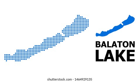 Dot map of Balaton Lake composition and solid illustration. Vector map of Balaton Lake composition of sphere dots on a white background. Abstract flat territory scheme for education illustrations.