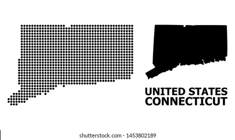 Dot map of Connecticut State composition and solid illustration. Vector map of Connecticut State composition of sphere points on a white background.