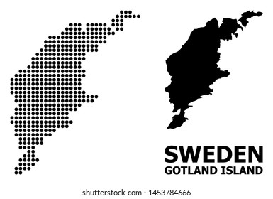 Dot map of Gotland Island composition and solid illustration. Vector map of Gotland Island composition of sphere pixels on a white background. Abstract flat geographic plan for educational templates.
