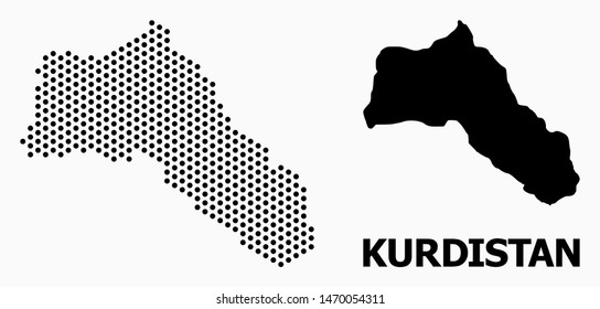 Dot map of Kurdistan composition and solid illustration. Vector map of Kurdistan composition of circle items with honeycomb geometric order on a white background.