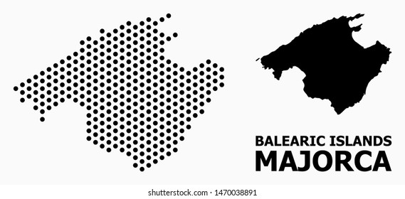 Dot map of Majorca composition and solid illustration. Vector map of Majorca composition of round pixels with hexagonal periodic array on a white background.