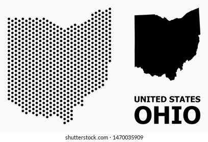 Dot map of Ohio State composition and solid illustration. Vector map of Ohio State composition of circle pixels with hexagonal periodic pattern on a white background.