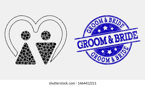 Dot married persons mosaic pictogram and Groom and Bride seal stamp. Blue vector round scratched seal stamp with Groom and Bride title. Vector combination in flat style.