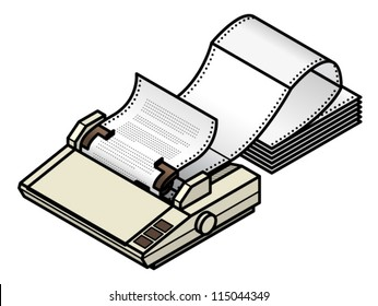 A dot matrix printer with tractor-feed fan-fold paper.