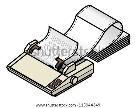 Dot Matrix Printer Tractorfeed Fanfold Paper Stock Vector