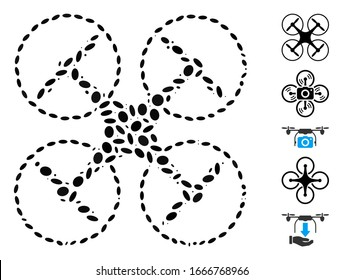 Dot Mosaic based on quadcopter. Mosaic vector quadcopter is created with scattered elliptic items. Bonus icons are added.