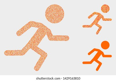 Dot and mosaic running boy icons. Vector icon of running boy created of scattered circle pixels. Other pictogram is formed from square pixels.