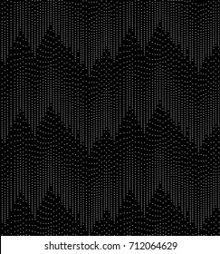 Dot Mountain Peaks - Abstract Seamless Repeat Tile - Geometric Graphic Wallpaper - Monochromatic Black and White - Black Background