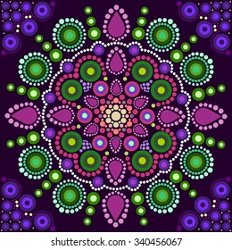 Dot painting meets mandalas 2. Aboriginal style of dot painting and power of mandala