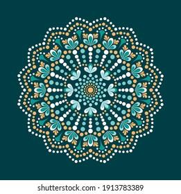 Dot painting meets mandalas. Aboriginal style of dot painting and power of mandala. Decorative flower. Dot multicolored ornate