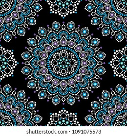 Dot painting vector seamless pattern with mandalas, Australian ethnic design, Aboriginal dots pattern ethnic style.  Abstract mandala with dots background, blue and white circles
