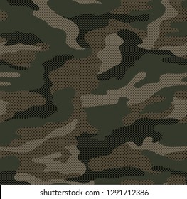 Dot pattern camouflage seamless background in olive green