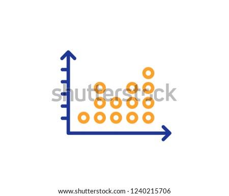 dot plot graph line icon  presentation chart sign  market analytics symbol   colorful outline
