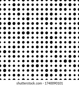 Dot polka. Random circle seamless pattern. Irregular polkadots. Black and white polka dots. Simple background with big and small dot. Dotted backdrop. Circles texture. Repeat design for prints. Vector